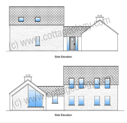 Fushia Cottage - Side Elevations | Irish Cottage Plans