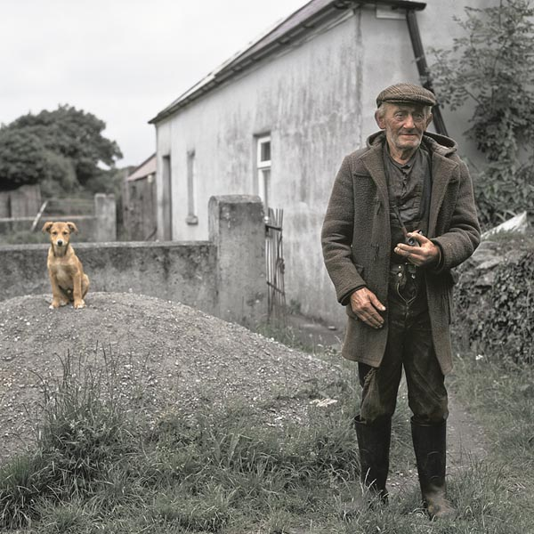 Old Photo of an Irish man and his dog