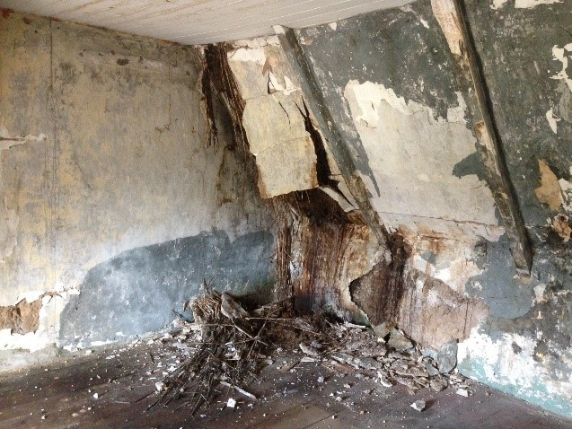 Upstairs Interior Showing Damage From Water Ingress - Cottageology - Irish Cottages & Culture